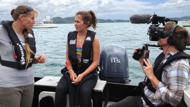 Riley interviewing Dr Ingrid Visser for an Orca story on Young Ocean Explorers. Matt Gerrand - cameraman from Algies bay