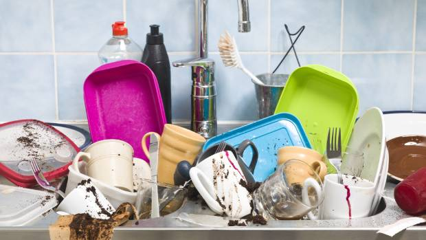 Does this resemble your kitchen sink? These lazy-person approved cleaning hacks will make your day.