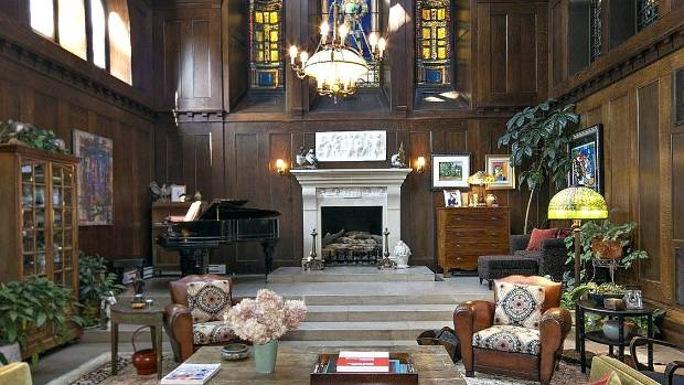 All the details remain intact in the former chapel of the Edwin Denison Morgan III estate.
