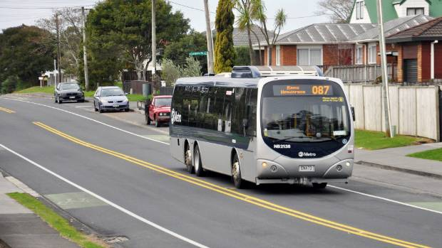 The 087 Metro bus to Ranui on its last drive along Pomaria Road on June 10.