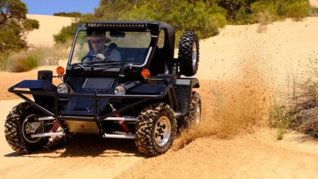 Tomcar in action. The vehicle is small but tough.