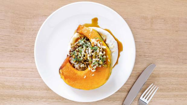 With sunflower cream, this tamari-roasted pumpkin is a seriously good recipe.