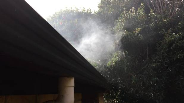 Smoke coming from this downpipe shows it is connected to the wastewater system.