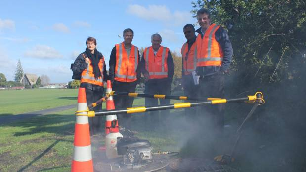 Local politicians popped down to Te Atatu Peninsula Park to see what Watercare was doing. From left: Henderson-Massey ...