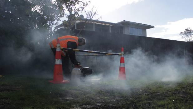 Mike Thompson starts up the smoke machine for Watercare.