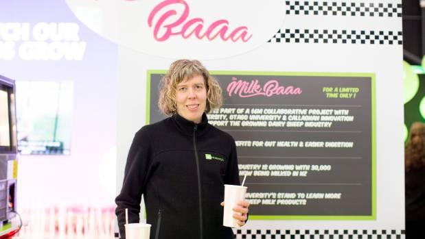 """AgResearch senior scientist Linda Samuelsson at the """"Milk Baaa"""" stand at Fieldays 2017."""