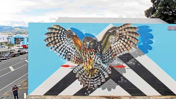 The Messenger mural was created for this year's Paradox Street Art Festival in Tauranga.