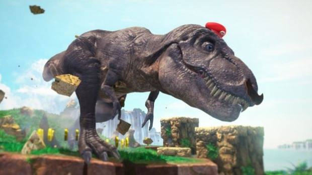 Pictured: a virtual Italian plumber possessing a t-rex. What an age we live in!