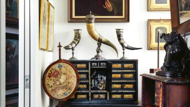 The drinking horns are German Renaissance Revival and the Victorian Berlin woolwork pole screen (used to shield women's ...