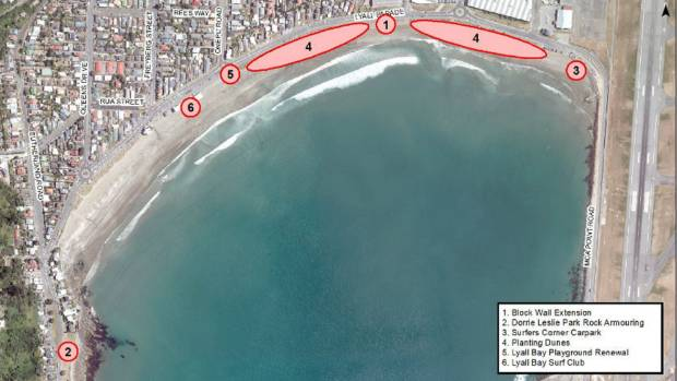 A map showing planned restoration works for Lyall Bay.