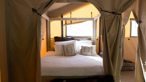 The wooden framed tents can sleep up to seven.
