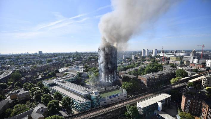 Smoke rises from huge fire at the 24 story Grenfell Tower in west London in 2017.