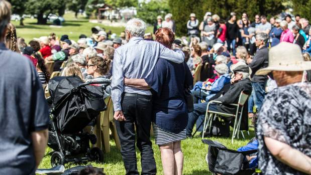 The Kaikoura community came together after the November earthquake for services and meetings in Churchill Park.