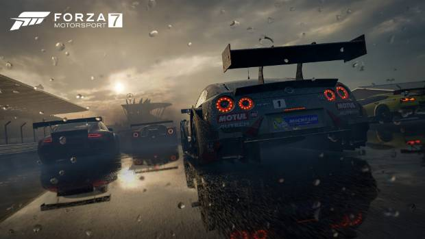 Dynamic weather effects create puddles that expand in real time as water hits the track.