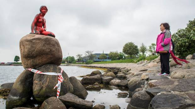 The Little Mermaid was doused in red paint on May 30 before the most recent vandal attack.