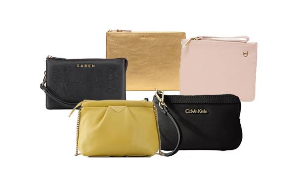 Clockwise from top: Comme des Garcons gold pouch, $220, Karen Walker zip pouch, on sale $146, Calvin Klein Saffiano ...