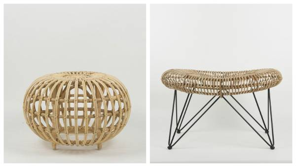 In 1951, Franco Albini designed an ottoman made of rattan (left), which has remained a popular choice with designers ...