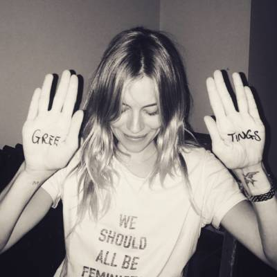 SIENNA MILLER: This reminds me of a game we used to play at parties where you'd write a four-letter word on someone's ...