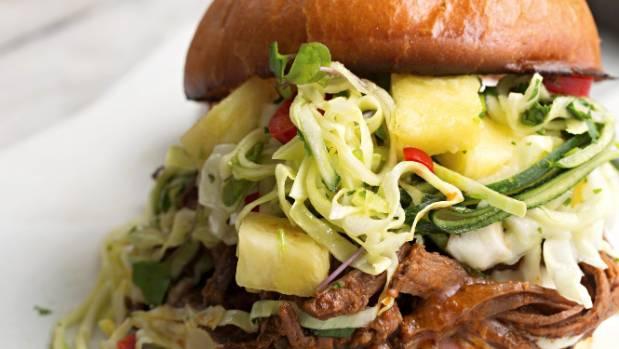 Brisket burger with pineapple slaw.