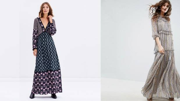 Tigerlily's Tundra dress, AUD$270, offers a V-neck option. Needle & Thread Lace maxi dress, $540, at ASOS.