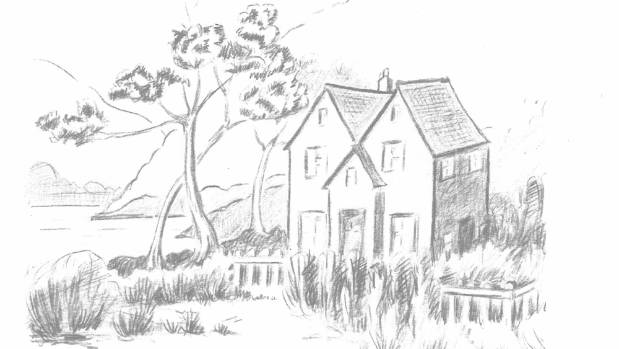 A sketch of the Haldane homestead.