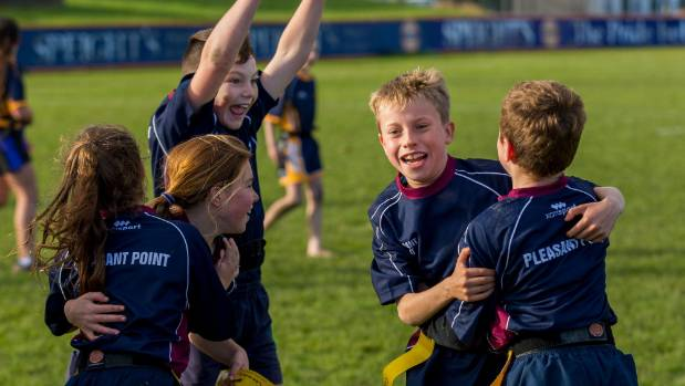 Pleasant Point's Flynn O'Keefe, 11, (arms up) and Ben Fifield, 11.celebrating their win at the South Canterbury Primary ...