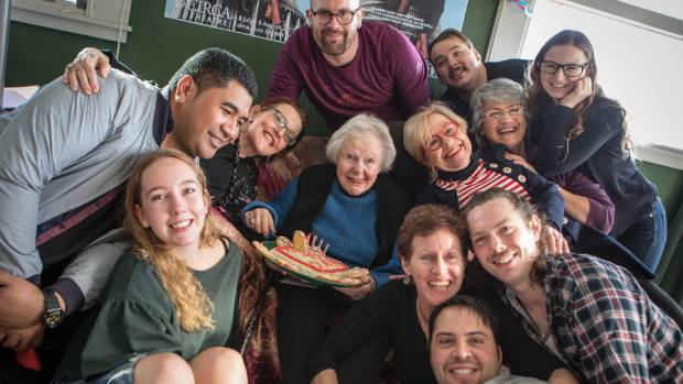 Actor Dame Kate Harcourt (centre) got a surprise from her fellow thespians at Circa, when they held an impromptu ...