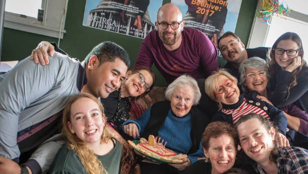 In Destination Beehive 2017, 90-year-old actor Kate Harcourt, centre with cake, proves she's still a compelling performer.