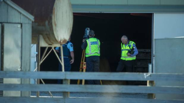 Police collecting evidence at the farm on Robinsons Rd, southwest of Christchurch.