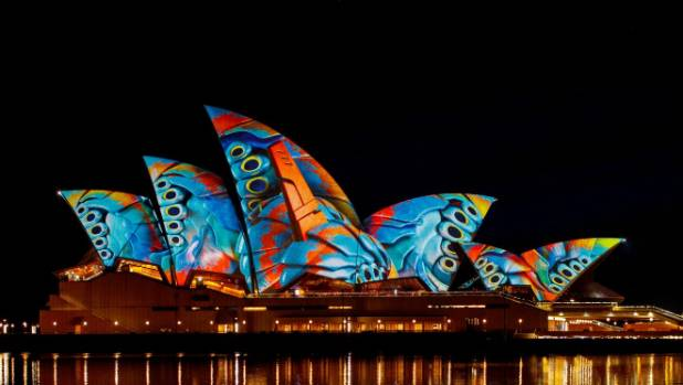 Each night the Sydney Opera House is illuminated for six hours with Audio Creatures, designed by Ash Bolland.