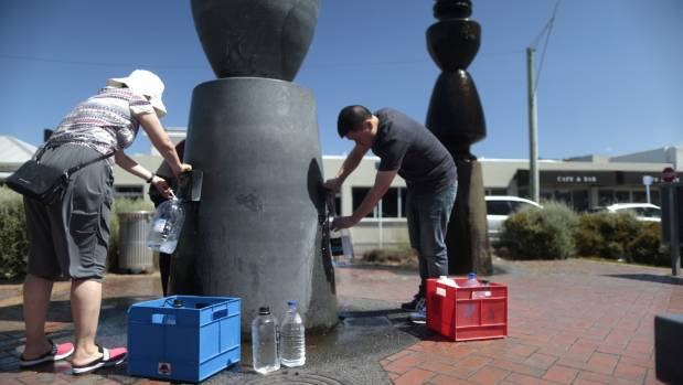 Queues at the artesian aquifer in the Lower Hutt suburb of Petone in February after a reservoir tested positive for E ...