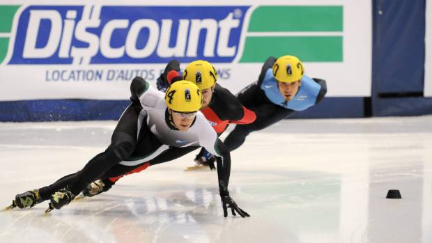 Blake Skjellerup (front) of Christchurch began his skating career at age 10, and reached the Vancouver Olympics in 2010.