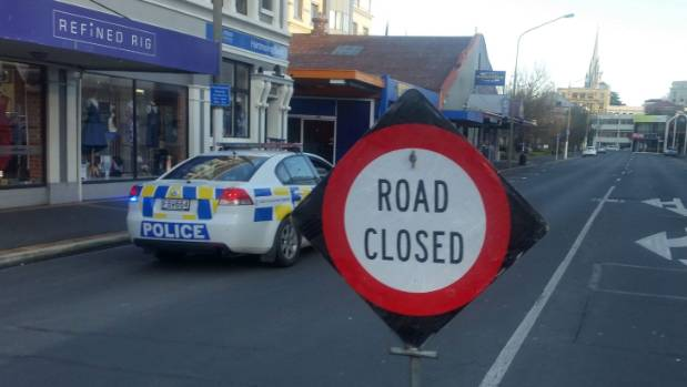 A cordon after a suspicious package was found at the NZ Post building on Moray Place, Dunedin, about 1.30pm.
