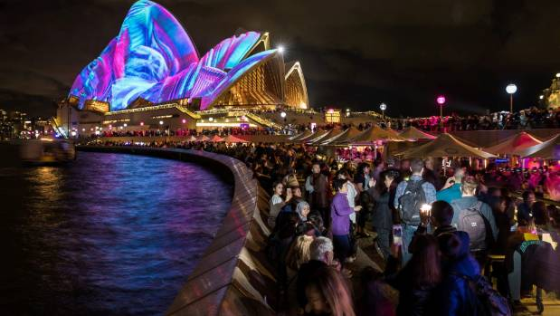 Crowds pack into Sydney Harbour every night during the festival.