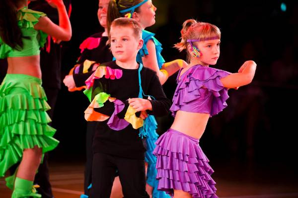 Brother and sister duo Ben Campbell, 7, and Rebecca Campbell, 9, dance in The Kids of Tempo Dance Studio opening number.