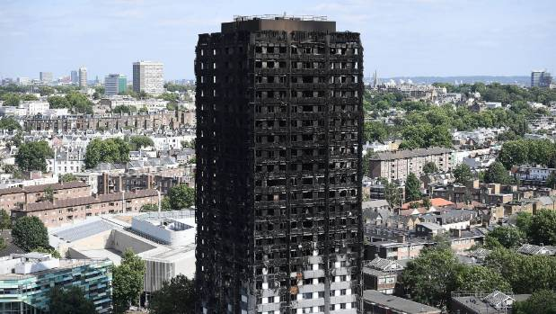 The aftermath: Firefighters filmed the video while speeding towards the tower block.
