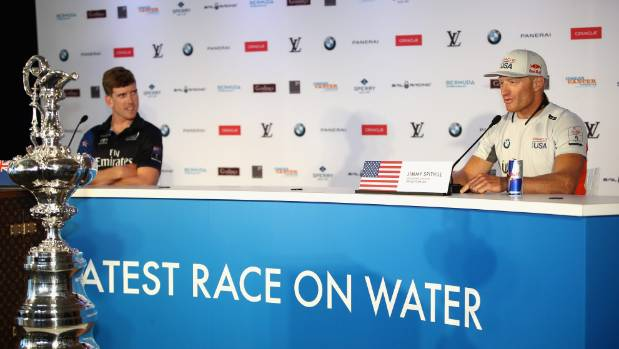 Peter Burling and Jimmy Spithill front the media in Bermuda ahead of the America's Cup match.