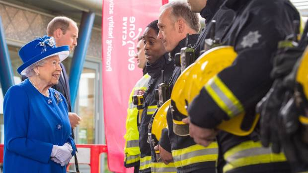 The Queen speaks to firefighters who tackled the deadly blaze.