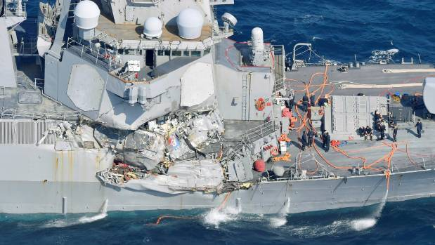 """The US 7th fleet said the USS Fitzgerald had """"experienced flooding in some spaces""""."""
