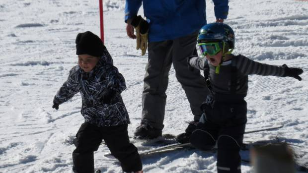 Children learn to ski in their own designated area.