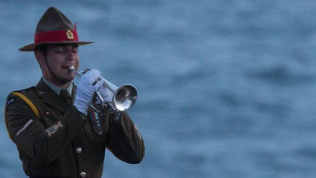 An ANZAC bugler sounds the Last Post at Gallipoli to commemorate the day the New Zealand and Australian troops landed on ...
