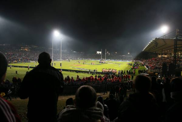 A packed Rotorua International Stadium.