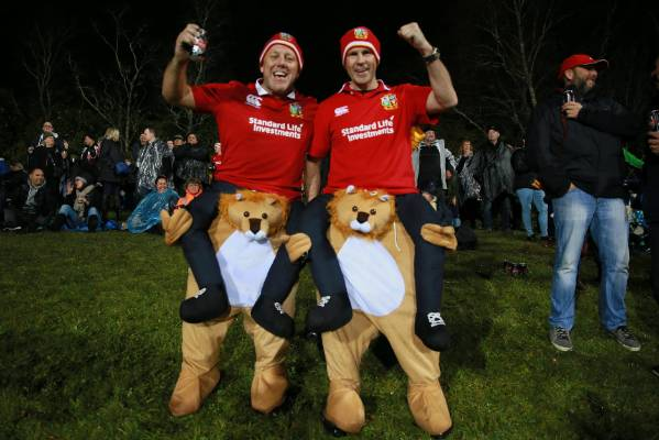 Lions fans Rick Eastment and Darren Pooell support their team.