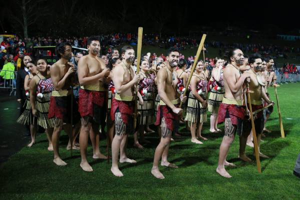 A traditional welcome for the Lions at Rotorua International Stadium.