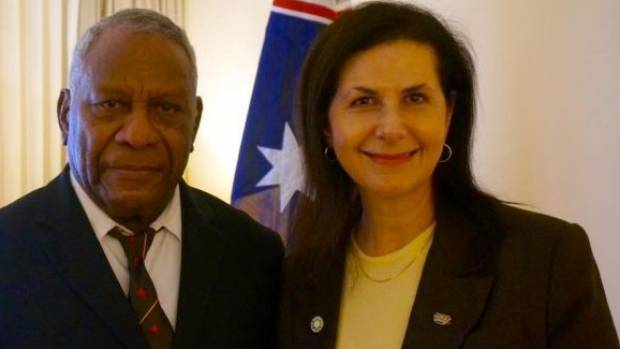 Vanuatu President Baldwin Lonsdale with Australian Senator Concetta Fierravanti-Wells in May 2016.