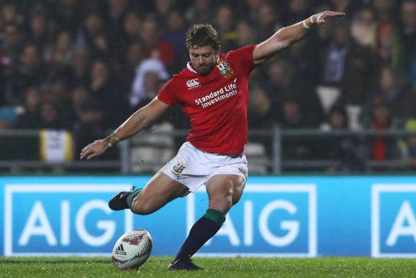 Leigh Halfpenny of the Lions kicks a penalty during the match with the NZ Maori at Rotorua.