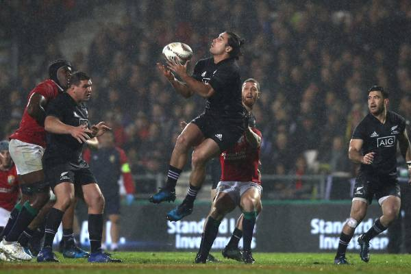 James Lowe of the NZ Maori catches a high ball during the clash with the Lions at Rotorua.