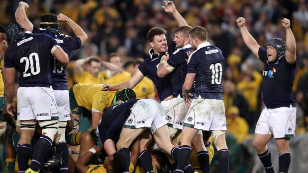 Scotland celebrate a famous win in Sydney.