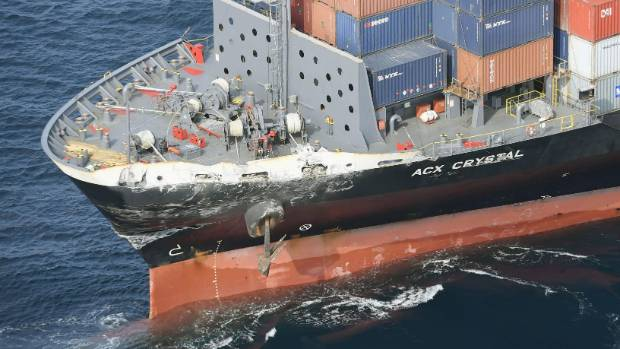 Damage to bow of the container ship ACX Crystal after it had collided with the USS Fitzgerald