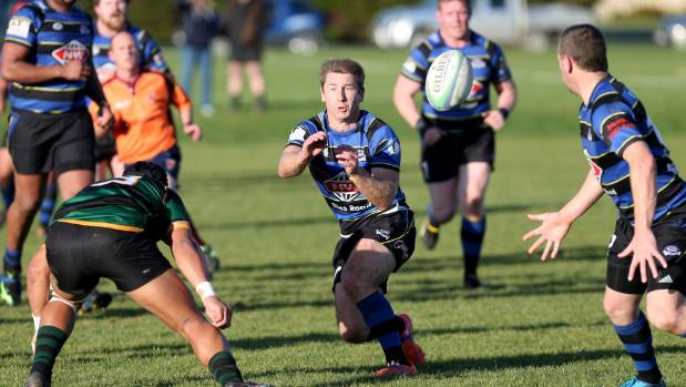 Blues first five-eighth Sam Muir passes the ball during a Southland premier club rugby fixture against Marist at the ...